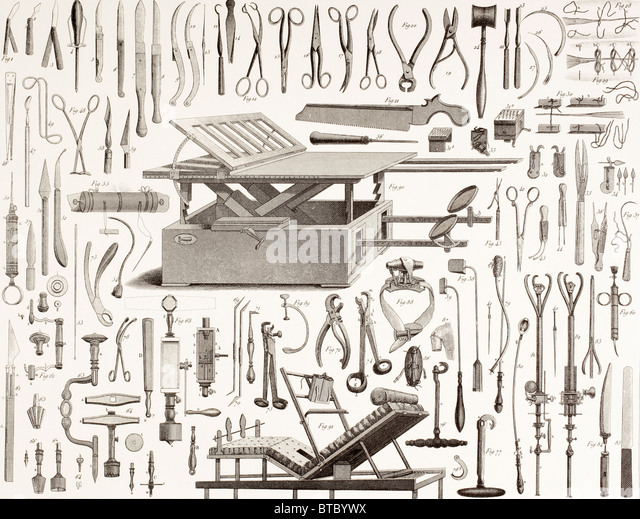 19th century surgical instruments. - Stock-Bilder