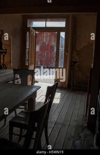 Inside The Miller House in Bodie, California, a ghost town that was once a booming mining town. - Stock Image