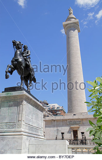 Baltimore Maryland Mount Mt. Vernon National Landmark Historic District Washington Place Washington Monument memorial - Stock Image