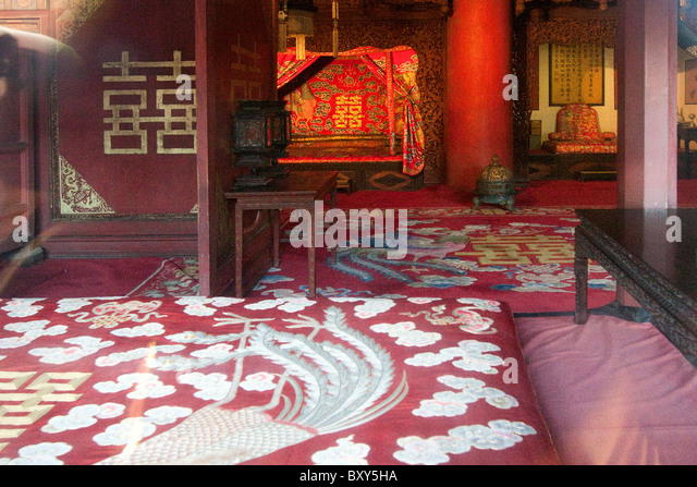 Interior Hall of Earthly Tranquility (Kun Ning Gong) 1420 The Forbidden City GuGong Beijing China - Stock Image
