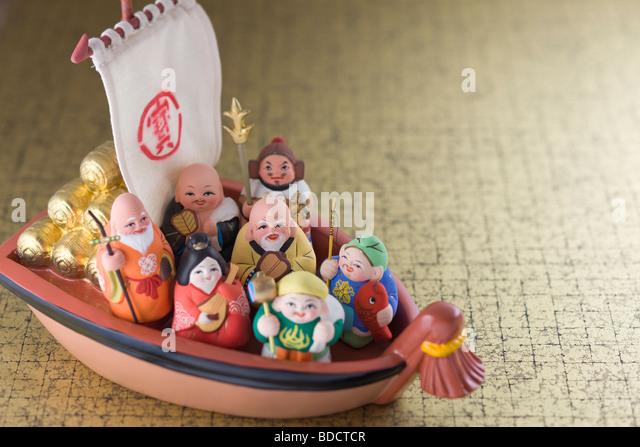 Japanese seven deities of luck - Stock Image