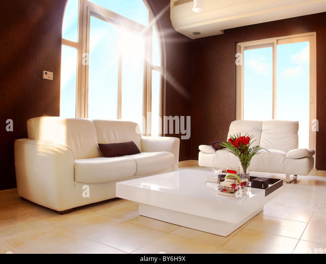 Luxury apartment with stylish modern interior design - Stock Image
