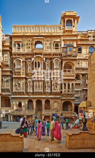 rich ornated facade of Patwon Ki Haveli, Jaisalmer, Rajasthan, India - Stock-Bilder