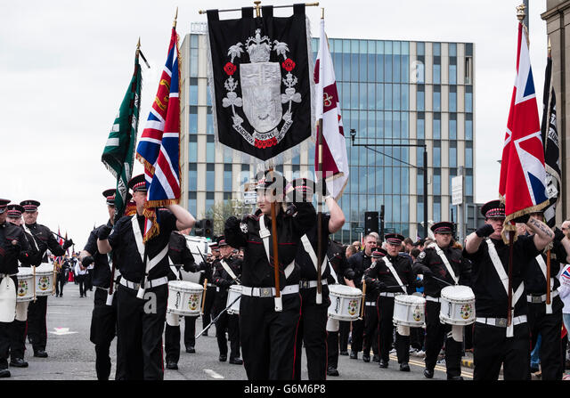 Traditional Orange Walk parade in central Glasgow , Scotland, United Kingdom - Stock Image