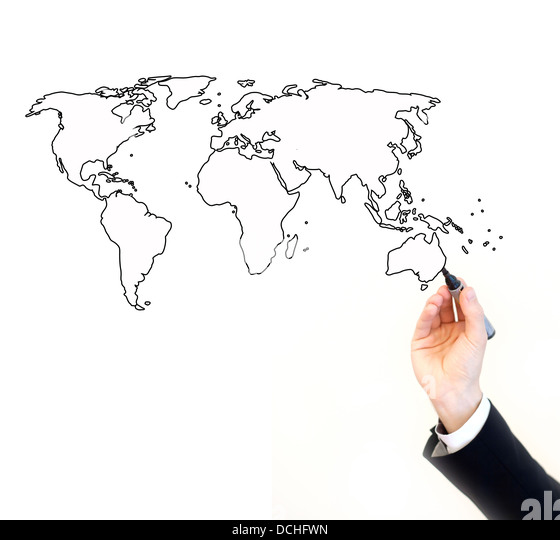 hand of businessman painting map of the world, isolated on white with place for the text - Stock Image
