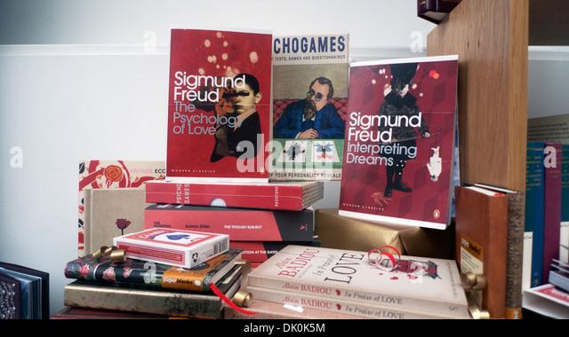 Sigmund Freud Psychology Books on display in Waterstones Book Store Gower Street London WC1 England UK   KATHY DEWITT - Stock Image