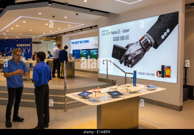 Sydney Australia NSW New South Wales Central Business District CBD George Street The Samsung Experience Store Galaxy - Stock Image