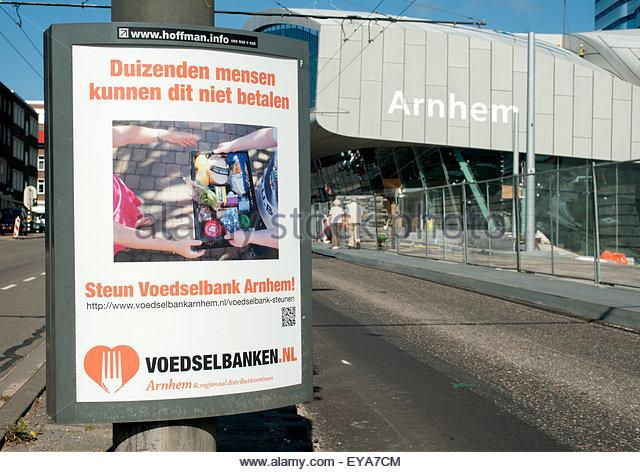 Arnhem The Netherlands Advertising for food banks. - Stock Image