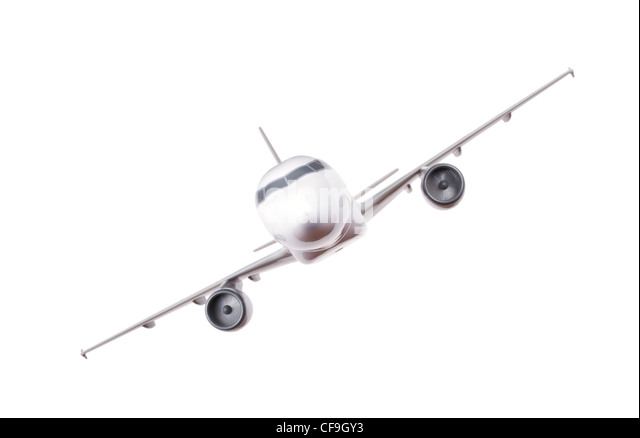 commercial plane model isolated on white background - Stock Image