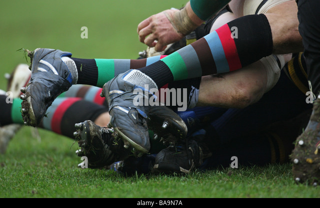 rugby union close-up scrum tackle - Stock Image