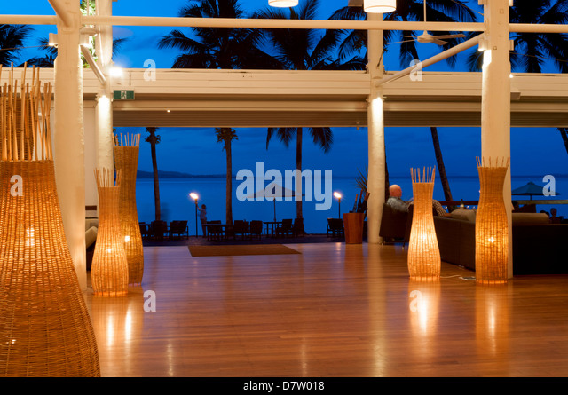 Looking out from Dunk Island Resort into Pacific Ocean, Great Barrier Reef, at twilight, Mission Beach, Queensland, - Stock Image