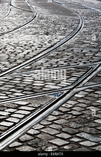 Tram tracks and cobbled street, Bremen, Germany - Stock Image