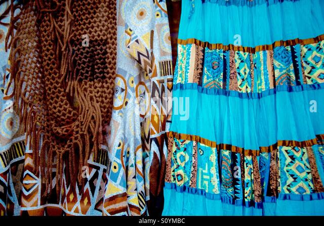 Colorful fabrics in Taos NM - Stock Image