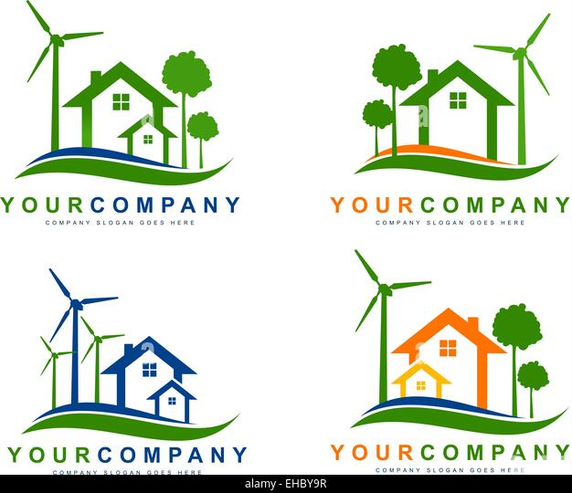 Green Eco Electricity. Sustainable wind energy houses logo. Creative vector elements - Stock Image