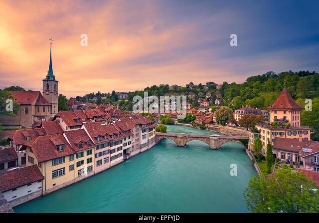 Bern. Image of Bern, capital city of Switzerland, during dramatic sunset. - Stock Image