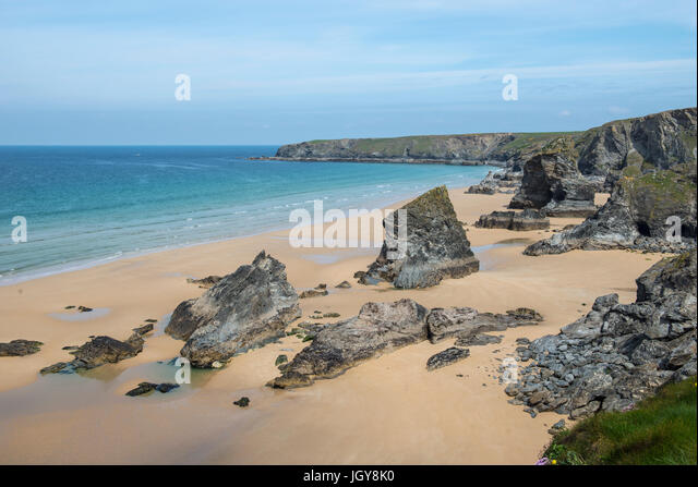 Aerial view of the beach at Bedruthan Steps, Cornwall, England, UK - Stock Image