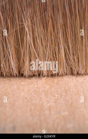 Brushing an Eucalyptus wooden surface. Backgrounds and textures - Stock Image