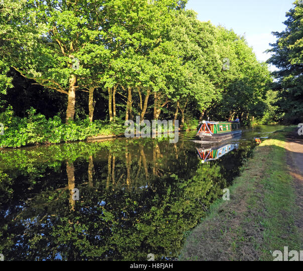 Bridgewater Canal Runcorn in Summer,waterside with barge, Cheshire, England,UK - Stock Image