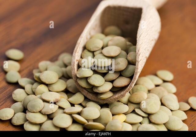 Dry Organic Green Lentils - Stock Image
