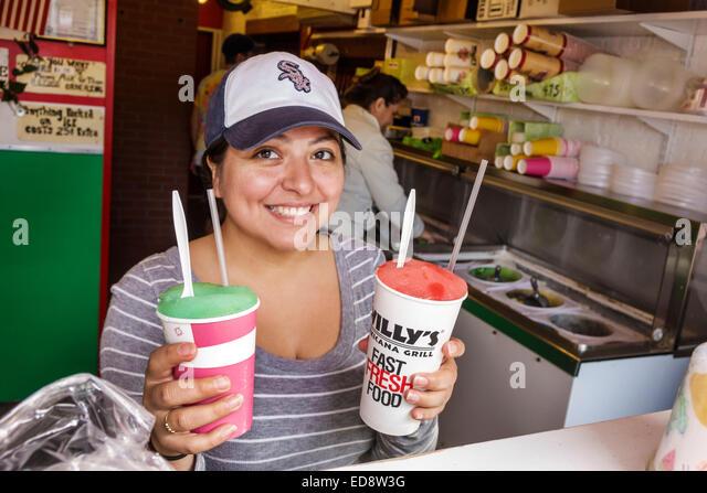 Chicago Illinois University Village Little Italy Taylor Street ethnic neighborhood Mario's Italian Lemonade - Stock Image