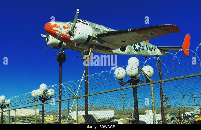 Plane at the Whoopy bowl in Vinton, Texas - Stock Image