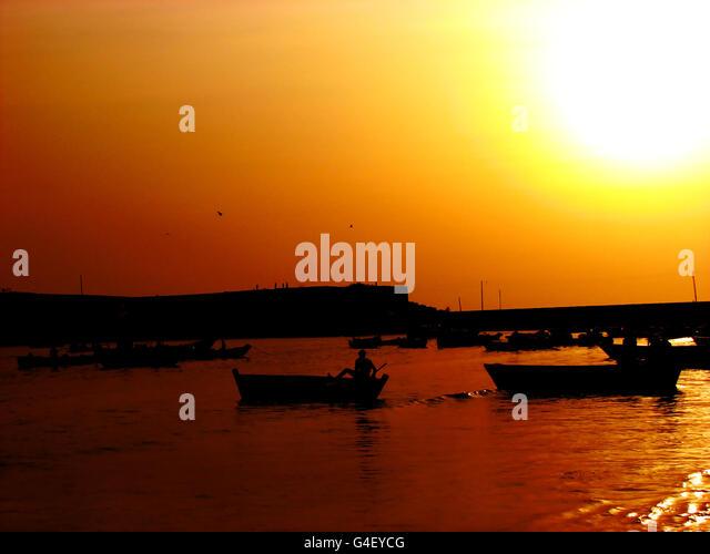 Sunset Fishing - Stock Image
