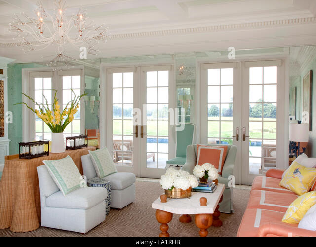 interior of guest cottage living room - Stock Image
