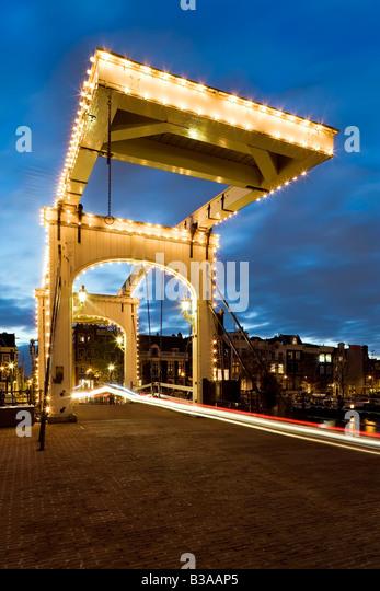 Holland, Amsterdam, Magere Brug (Skinny Bridge) - Stock Image