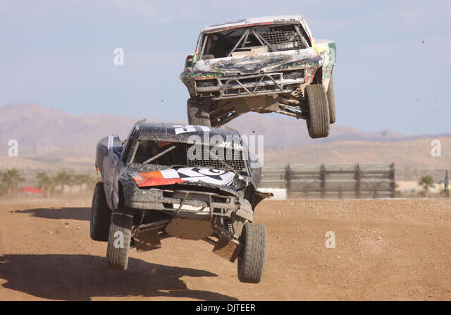 March 6 and 7, 2010, Mike Johnson #31 is pursued by Kent Brascho #8 during Unlimited 4 competition at the LOORRS, - Stock Image