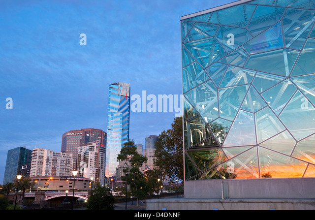 Architecture of Federation Square with the Eureka Tower and Southbank in background. Melbourne, Victoria, Australia - Stock Image