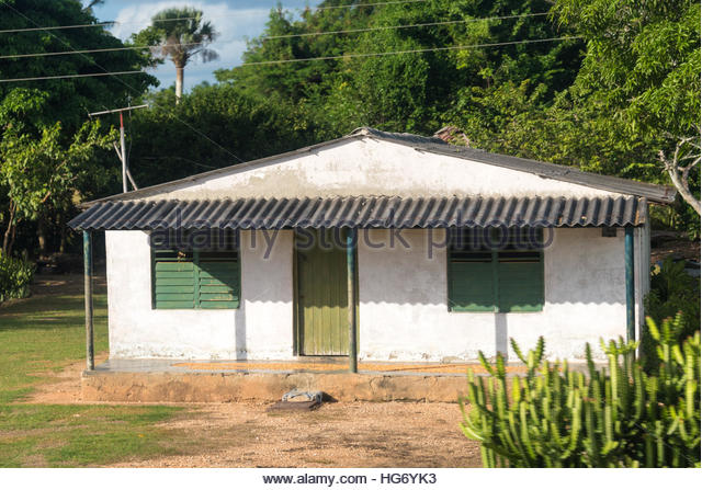 Cuban peasants typical light roof home by the road. Simple humble houses are traditional for countryside people. - Stock Image