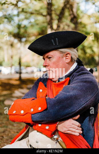 French soldier, actor, at Fort Toulouse - Fort Jackson, during French and Indian War of 1754, Wetumpka Alabama, - Stock Image