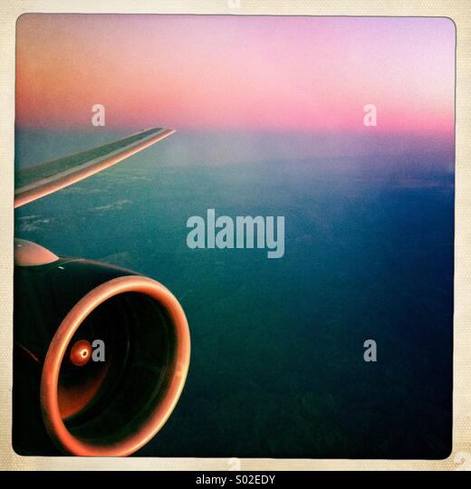 Sunset at 35,000 feet. - Stock Image