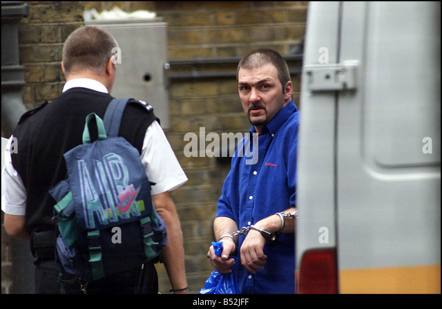 FILE PHOTO Barry George Bulsara arrives handcuffed at Bow Street Magistrates court March 2001 for the trial of TV - Stock Image