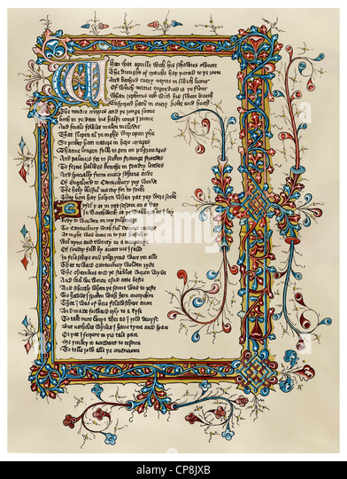 the beginning of the Canterbury Tales by Geoffrey Chaucer, Ellesmere Manuscript, 15th Century, Historische Zeichnung - Stock Image