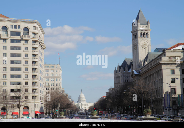 Washington DC Pennsylvania Avenue Old Post Office Pavilion historic clock tower United States US Capitol Building - Stock Image