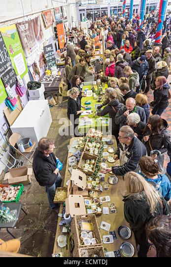 Christmas Food Festival, Abergavenny, Wales, UK - Stock Image