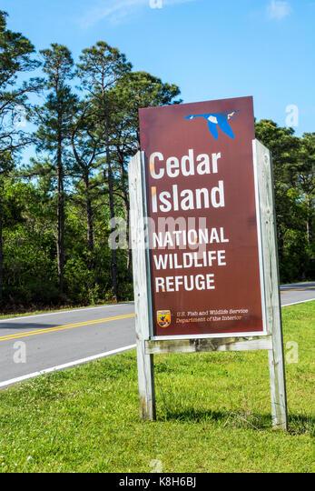 North Carolina NC Cedar Island Highway 12 National Wildlife Refuge road sign - Stock Image