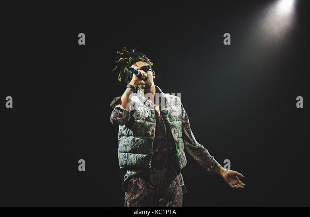 Torino, Italy. 30th Sep, 2017: The italian rapper Ghali performing live on stage at the Officine grandi Riparazioni - Stock Image