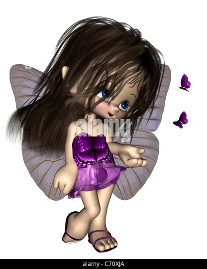 Toon Butterfly Fairy - Purple - Stock Image