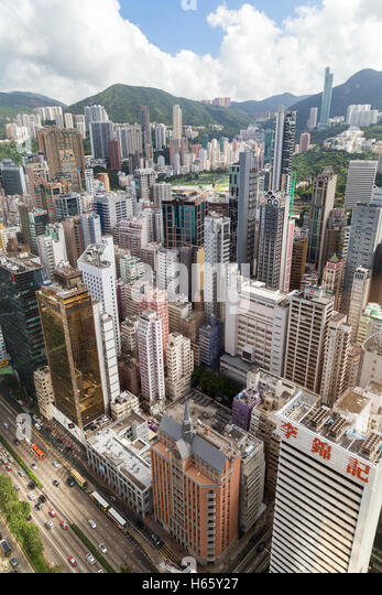 Skyscrapers in Wan Chai and Happy Valley on Hong Kong Island in Hong Kong, China, viewed from above. - Stock Image