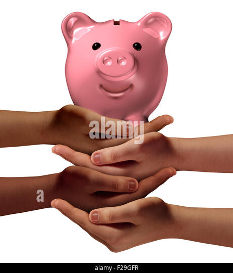 Community savings business concept and social banking symbol as a group of diverse hands holding up a piggy bank - Stock-Bilder