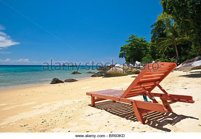 Red beach chair on the beach of Panuba, Pulau Tioman Island, Malaysia, Southeast Asia, Asia - Stock Image