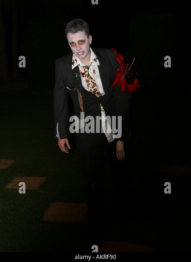 zombie at fancy dress party at Halloween - Stock Image
