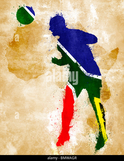 A soccer player with south african flag painted - Stock Image
