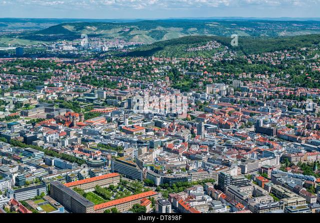 Germany, Baden-Württemberg, aerial view of Stuttgart, the Swabian metropolis - Stock Image