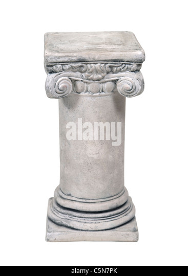 White stone formal pedestal for raising up an item of importance - path included - Stock Image