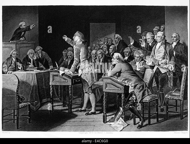 Patrick Henry Addressing the Virginia House of Burgesses against Taxation without Representation, 1765, Engraving - Stock Image