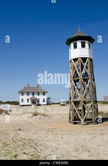 Wash Woods Coast Guard Lifesaving Station lookout tower  historic building, Corolla, Outer Banks, North Carolina - Stock Image