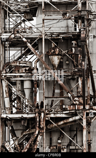 exterior of ruined industrial  building factory - Stock Image